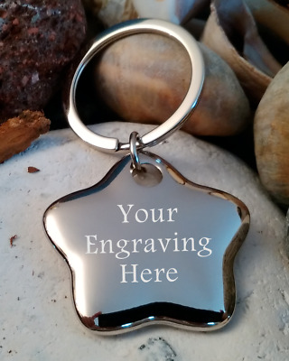Personalised - Keyring  - Engraved - Gift - Star Shape
