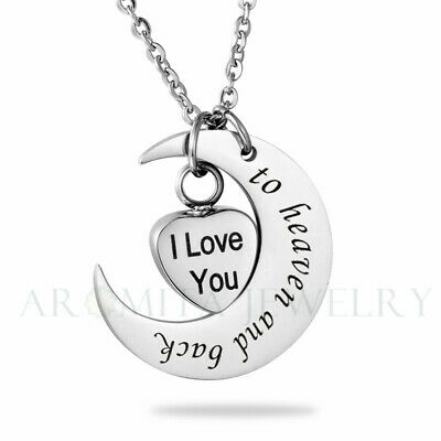 """""""To heaven and back"""" Heart/Moon Cremation Keepsake Memorial Urn Ash Necklace"""