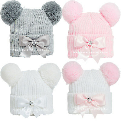 Baby Girls Knitted Pom Pom Hats Newborn, 0-3 Months Bobble Cap With Bow