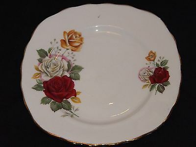 Vintage Crown Royal Bone China Tea Plate Floral Red White Gold Roses England