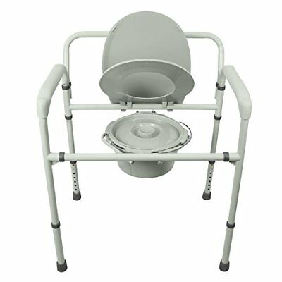 Bariatric Bedside Commode by Vive - 3 in 1 Toilet Chair - Extra Wide Pre-Asse...