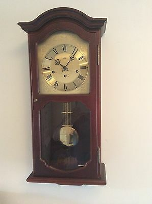 A Fine German Westminster Chiming Wall Clock In Solid Wood Case By 'ams'.