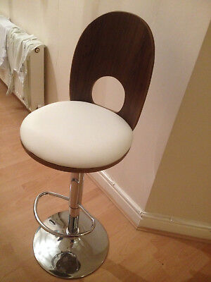 Designer bar stools walnut wood and cream faux leather, gas lift. set of two