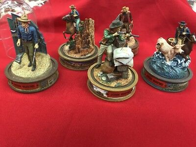 5 Franklin Mint Glass Dome Limited Edition John Wayne Hand Painted Sculptures