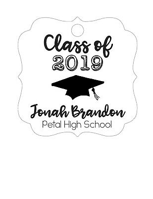 Personalized Graduation Class of 2019 Grad party FAVOR TAGS Square, cursive name