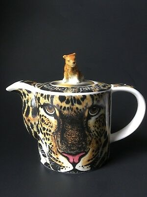 Leopard Ceramic Teapot WILD Cafe Paul Cardew England 2008 Endangered Species Cat
