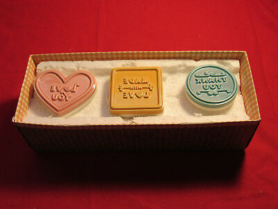 Set Of 3 Hallmark Cookie Stamp Press MADE WITH LOVE, THANK YOU, LOVE YOU Ceramic