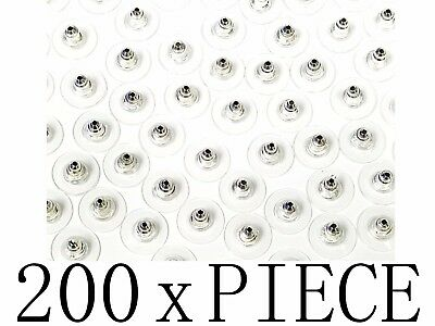 200 pc Clear Earring Replacement Backs Tone Bullet Clutch Safety Ear Nut Combo