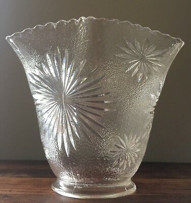 Antique Vintage Stippled Starburst Textured Glass Chandelier Shade 2 1/4""