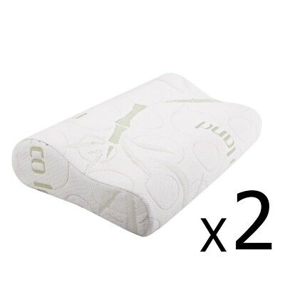 2x ECO LAND Bamboo Contour Pillow Memory Foam Fabric Fibre Cover 50 x 30cm