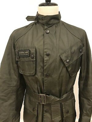 Barbour International Mens Waxed Cotton Motorcycle Jacket Green Size Small