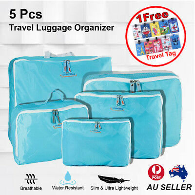 5 Pcs Packing Cube Storage Travel Luggage Organizer Bag Mint Colour