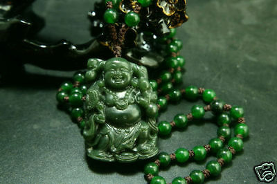 Chinese 100% Natural Green Hetian Jade Hand-carved Pendant Buddha-Free Necklace