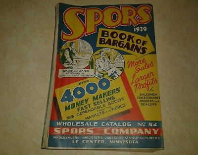 Very Rare Vintage 1939 Spors Book of Bargains Catalog of Novelties Toys Watches