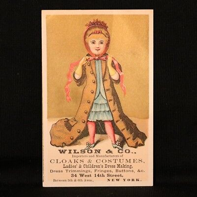 Wilson & Co. Cloaks & Costumes Trade Card  - Girl in Cloak