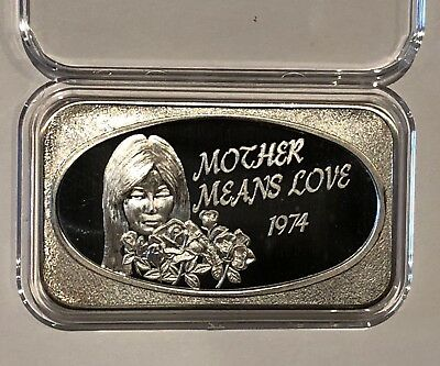 74 Mother Means Love 1 Troy Oz .999 Fine Pure Silver Ingot Medal Collectible Bar