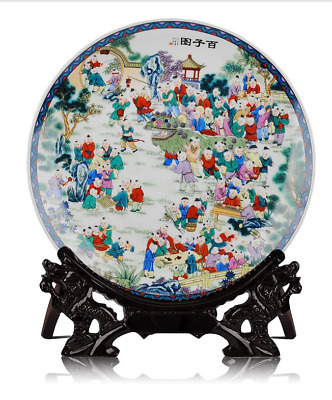 25CM Collectibles Chinese Jingdezhen ceramics Hundred subgraph decorate plate