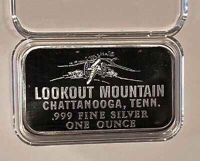 Lookout Mountain Chattanooga Tennessee 1 Troy Oz .999 Fine Pure Silver Ingot Bar