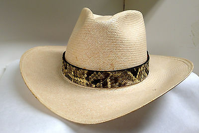 Eastern Diamondback Rattlesnake 1 3/16 inch Wide Pieced Hat Band with Rattle