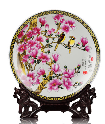 25CM Collectibles Chinese Jingdezhen ceramics white Jade orchid decorate plate