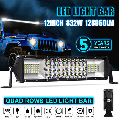 CREE Autofeel car Led Work Quad Row Light Bar 12Inch 832W Combo Beam Offroad Fog