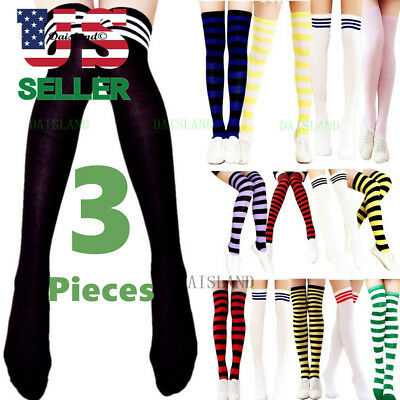 18182e445 3 Women s Striped Thigh High Socks Sheer Over The Knee Plus Size Stockings  USA