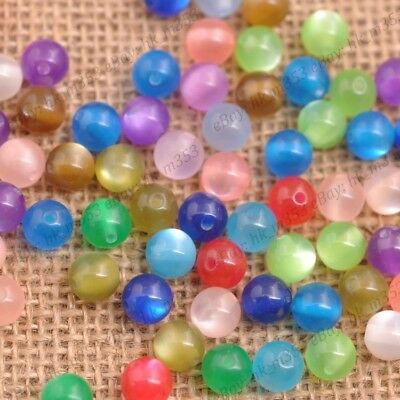 100Pcs Mixed Acrylic Cat Eye Round Ball Charms Loose Spacer Beads DIY 6MM 8MM