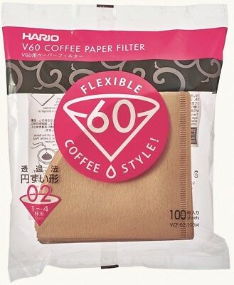 Hario V60 Coffee Paper filter Brown 100 sheets VCF-02-100M Japan Import 1-4 cups