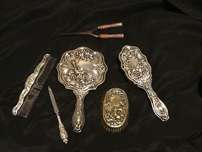Vintage Rare 5 Piece Set, 2 Brush's,Comb,Nail Foil And Mirror Dated 1905.