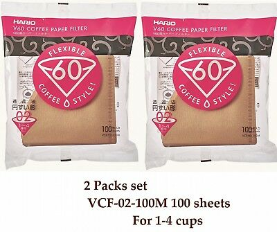 2 Packs set Hario V60 Coffee Paper filter Brown 100 sheets VCF-02-100M 1-4 cups
