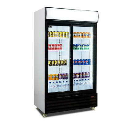 Double Sliding Door 1000L Commercial Upright Glass Display Drink Showcase Fridge