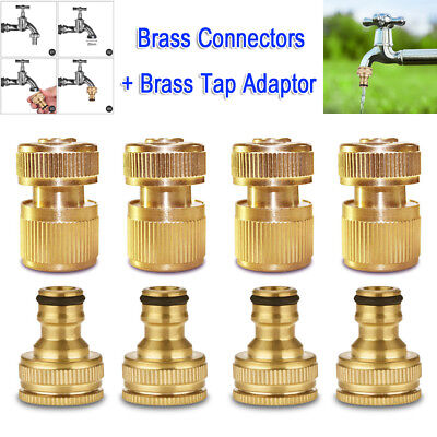 """4 SET 1/2"""" 3/4"""" Brass Garden Lawn Water Hose Pipe fitting Connector Tap Adaptor"""