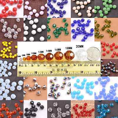 Wholesale 24 Colors Czech Crystal Faceted Rondelle Loose Beads 3-10MM Free Ship