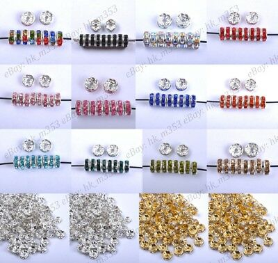 30pcs Czech Crystal Rhinestone Silver Rondelle Spacer Beads 4MM 5MM 6MM 8MM 10MM