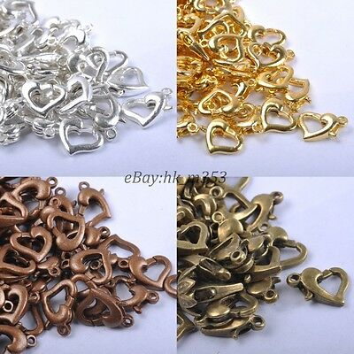 50Pcs  Gold & SILVER PLATED, Bronze,Metal Heart Lobster Clasps Hooks 12X8MM