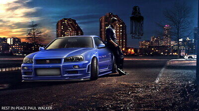 """077 Paul Walker - RIP Fast and Furious Super Movie Star 24""""x14"""" Poster"""