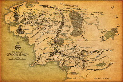 """001 Map of Middle Earth Lord Of The Rings - Hobbit Movie 21""""x14"""" Poster"""