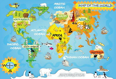 "001 Kid's - World Map Laminated 20""x14"" Poster"