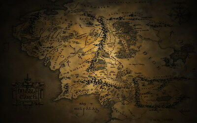 """005 Map of Middle Earth Lord Of The Rings - Hobbit Movie 38""""x24"""" Poster"""