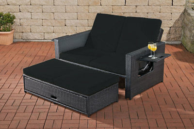 poly rattan lounge sofa bank couch dach gartenliege gartenlounge liege garten eur 229 95. Black Bedroom Furniture Sets. Home Design Ideas