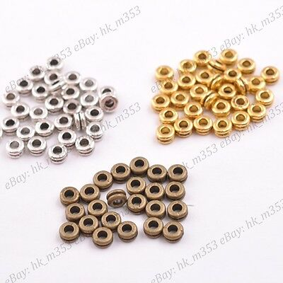 100PCS Wholesale Tibetan Silver//Gold Rings Spacer Beads 7MM A3161
