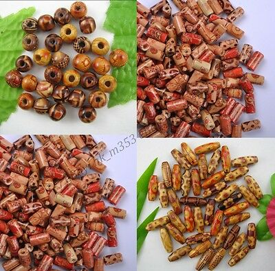 100Pcs MIXED Round & Oval & Shapes Charms WOOD Loose BEADS