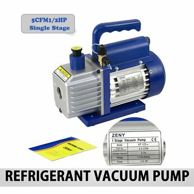 5CFM Single Stage 1/3HP Vacuum Pump Rotary Vane HVAC AC Air Tool US QN
