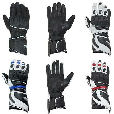 ARMR Moto S550 Leather Motorcycle Motorbike Gloves Racing Sports Black White