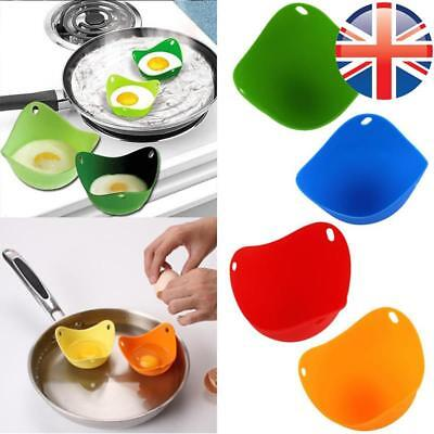 *UK Seller* 1~4X Silicone MULTI COLOURS Egg Poaching PODS Poacher Cookware Cups
