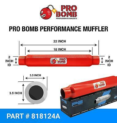 """2"""" inch 50mm 18"""" PRO Bomb glass pack exhaust muffler silencer Cherry Red Colour"""