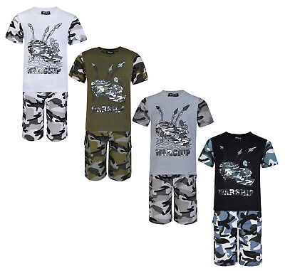 Boys Shorts T Shirt Set 2 Piece Outfit Camouflage Warship 2-13 Years Bnwt