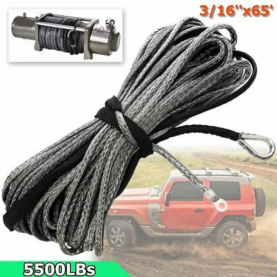"3/16"" x 50' Synthetic Fiber Winch Line Cable Rope 5500 LBs Sheath ATV UTV Offora"