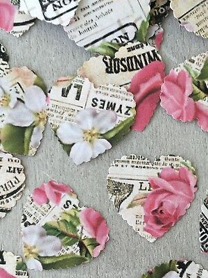 100 French Vintage Heart Shaped Rose Paper Wedding Table Confetti Decorations