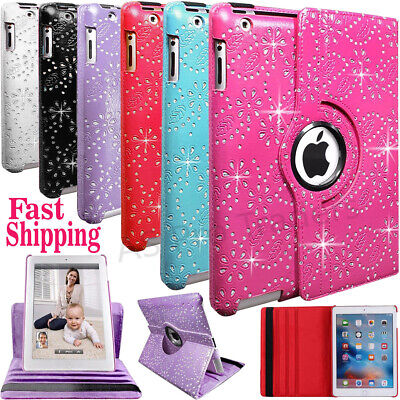 Bling Leather 360° Degree Rotate Stand Case Cover For Apple iPad 5-Air-234-Mini